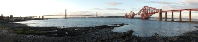 The Forth Bridge and the Forth Road Bridge at sunset.