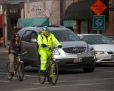 "Missoulian cyclists sit in downtown ""five o'clock traffic"" Monday evening."